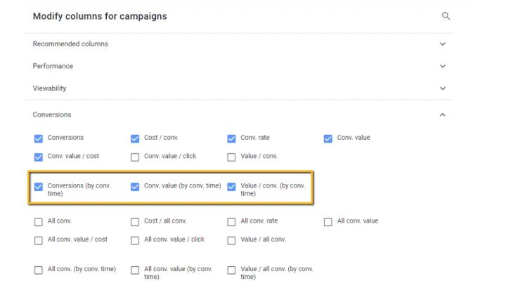Modify columns for campaigns